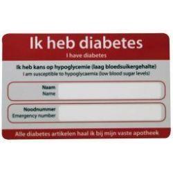 Diabetes noodkaart