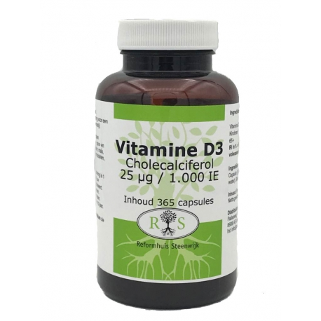 Reformhuis Steenwijk Vitamine D3 Cholecalciferol 25 ug / 1000 IE 365 caps